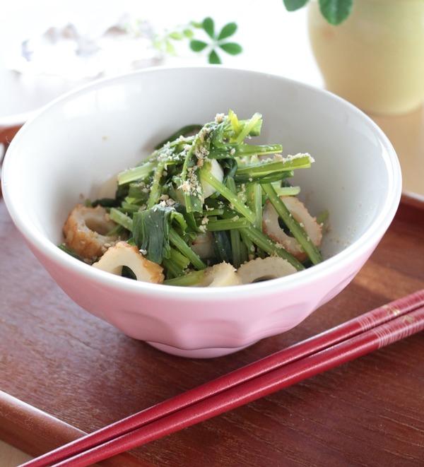 """バレンタインだけど渋い(?)春野菜レシピw京野菜""""壬生菜""""のお浸し。"""