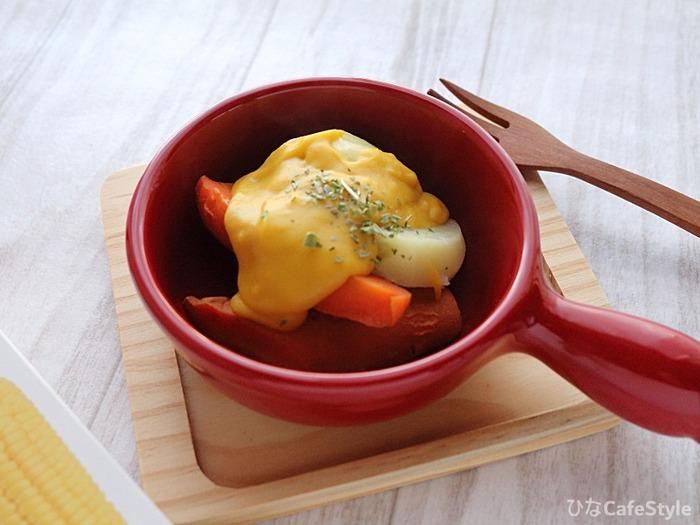 コーンのソースで食べる温野菜☆自然な優しいお野菜の味わいを楽しみます