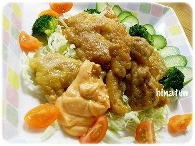 ガーリック風味の鶏胸肉・・・改め鶏もも肉パプリカマヨかけ(笑