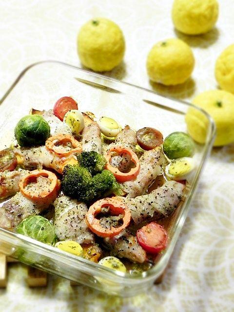 彩り野菜でオーブン15分!南瓜の豚バラ肉巻のオーブン焼き☆今日は冬至です!