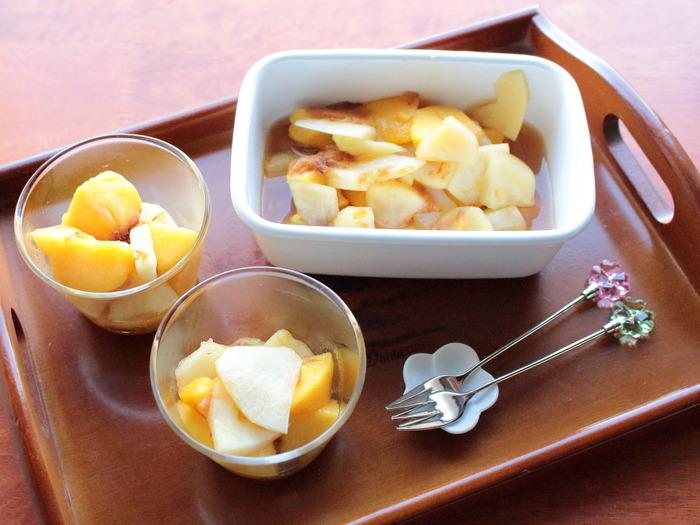 りんごと桃のコンポート【レシピ】