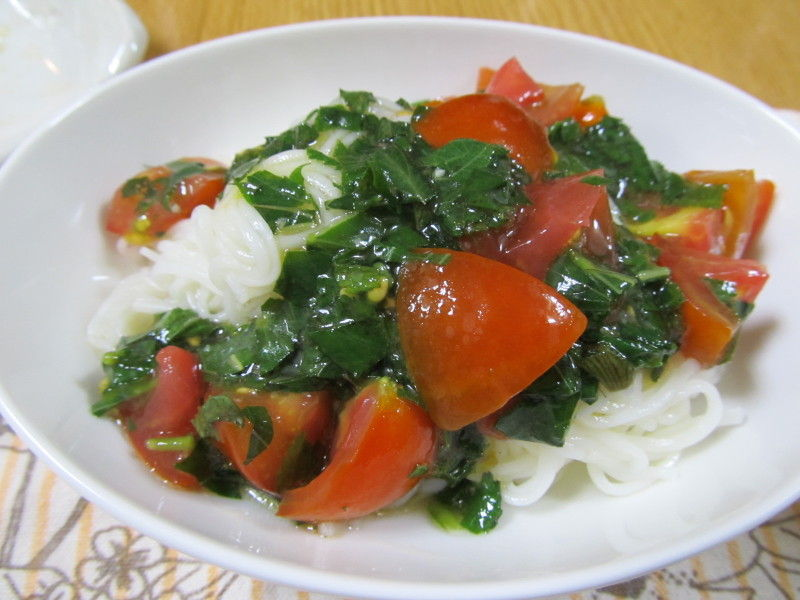 hinatunの!なちゅらる日記-トマトとモロヘイヤのお素麺