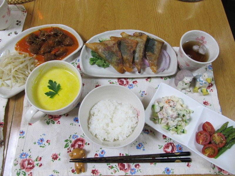納豆の三角春巻き&かぼちゃの冷製スープ