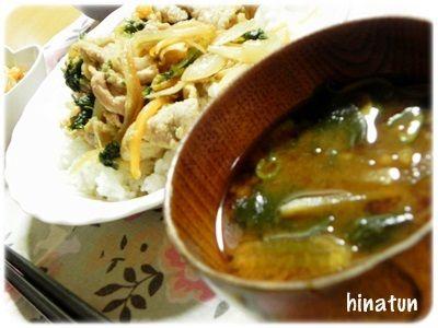 0921ぶた肉と小松菜の焼肉炒め丼+お味噌汁