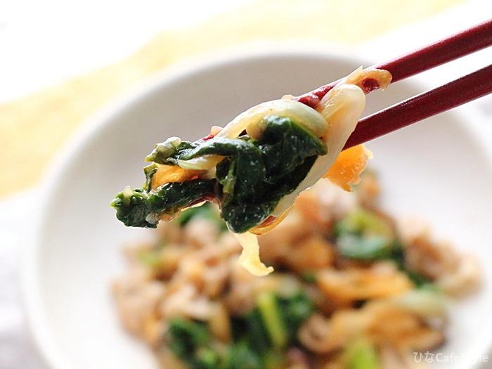 かつお菜の豚肉炒め☆かつおの香りがする福岡のお野菜