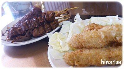 お千代保さんの串カツと・・・椎茸の肉詰めとお漬物とお酒な夜ごはん