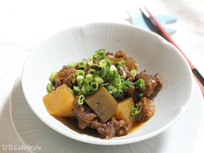 牛すじ肉とこんにゃく煮☆すじ肉も圧力鍋を使えば安心&安定の軟らかさ!