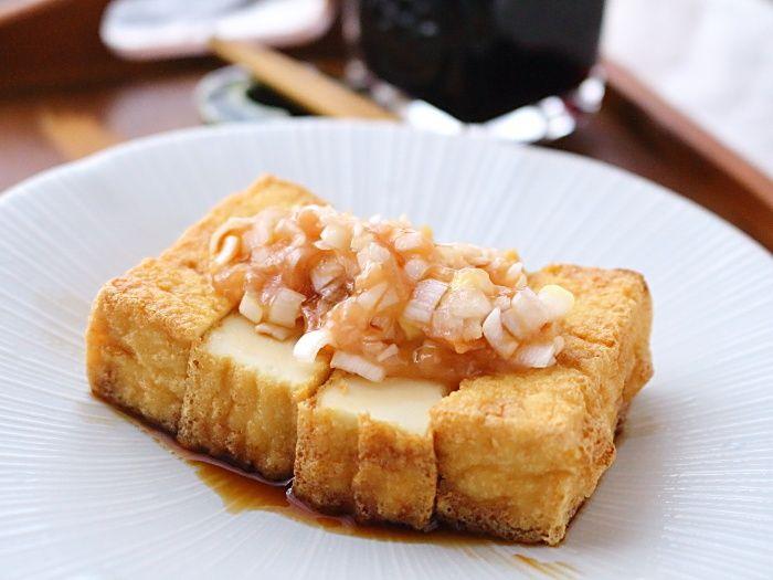 ねぎ&梅肉ソースで食べる厚揚げ焼き☆鍋の時のあと一品にどうぞ!おつまみにも最適♪