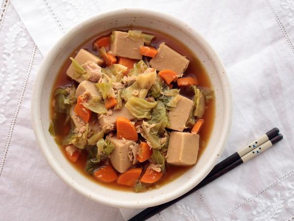 こうや豆腐とツナの旨煮・横真俯瞰_1600