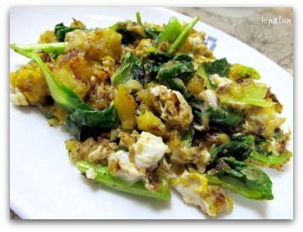 ひなちゅんの!なちゅらる日記-青梗菜&さつまいものポテサラの卵炒め