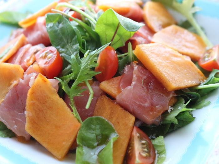 柿と生ハムのオイルサラダ