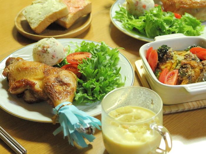 クリスマスカラーのマッシュポテト☆我が家のイブの夜ご飯