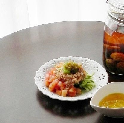 梅酢を使った健康レシピ♪梅ドレッシングdeツナサラダ