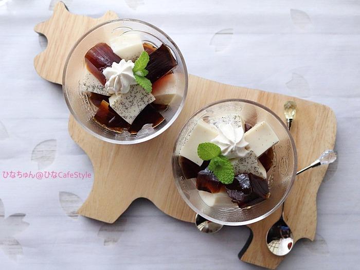 お砂糖なしの珈琲&ミルクゼリー☆【スパイス大使:バニラビーンズ】