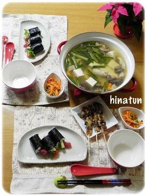 湯豆腐と、サーモン&マグロのお寿司と大掃除