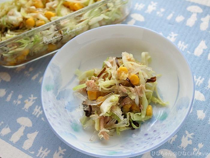 塩昆布で味付け!キャベツナサラダ☆混ぜるだけの簡単レシピ&後半はクローバー型のきゅうりを収穫したよってお話