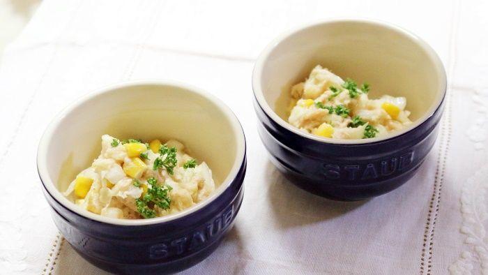 夏らしい爽やかサラダ!白菜のツナマヨコーン☆玄関先にコリウスとブルーサルビアをお迎えしました