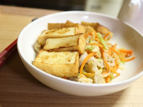 厚揚げと野菜のポン酢炒め2