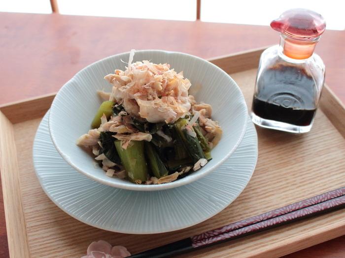 ささみと小松菜のめんつゆ和え【レシピ】