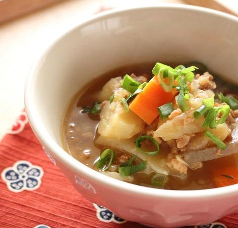 ダイズラボ。大豆のお肉シリーズを使った「根菜のめんつゆ煮」