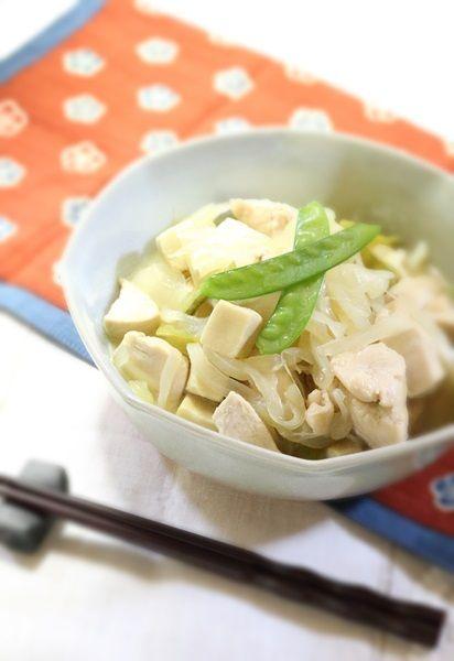 こうや豆腐と鶏肉の煎り酒煮
