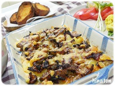 ジャガイモと茄子とベーコンのオーブン焼き