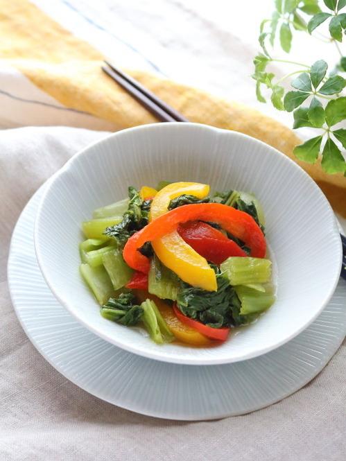 青梗菜とパプリカのレンジ煮☆作り置きOK!寒いけどビタミンカラーで元気をもらおう!