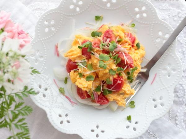 トマトの入ったふんわりたまご☆暑くても、食欲がなくても食べやすい卵料理