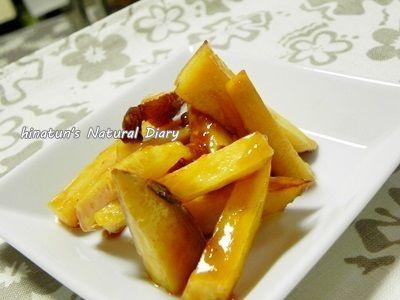 今日作ったもの。安納芋の大学ポテトと白菜のお漬物