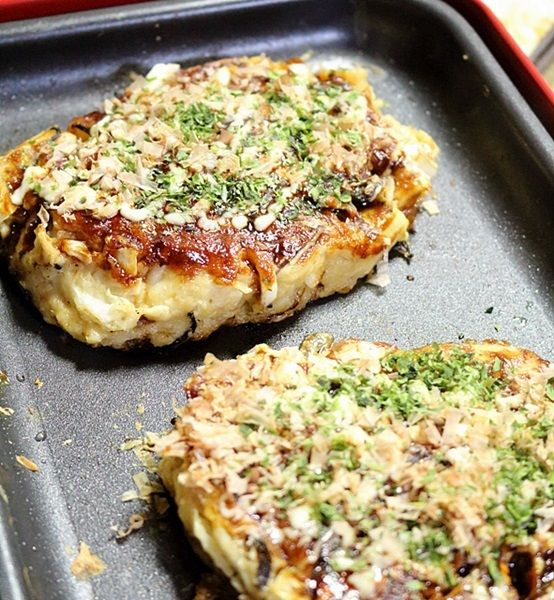 白菜とひじき&しいたけの和風お好み焼き