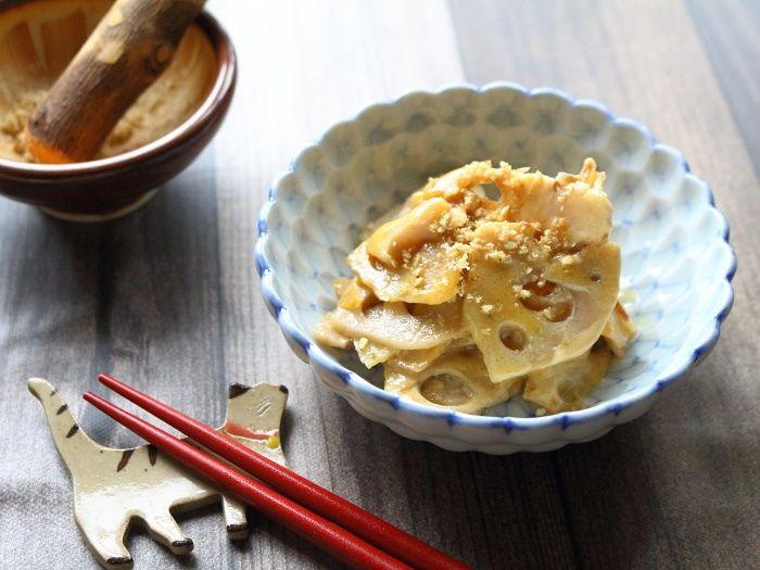 炒めれんこんの味噌マヨ和え☆地味なおかずだけどまずは食べてみて♡