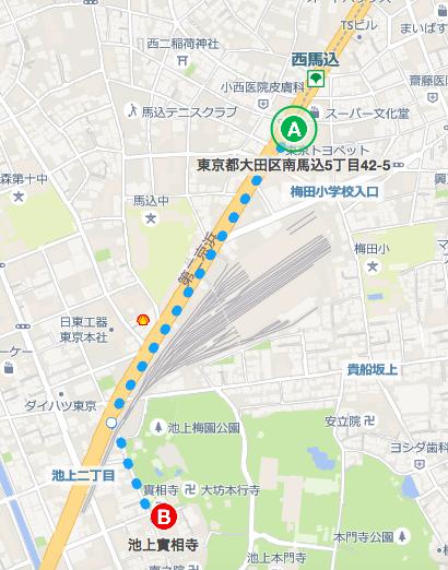 西馬込駅南口から實相寺 地図