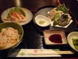 蓮根御飯と天ぷらを定食で