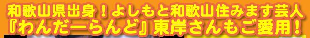 和歌山県出身の吉本興業所属のお笑い芸人「和歌山住みます芸人」の『わんだーらんど』東岸誠さんもヒラメキワークスのデザインTシャツをご愛用!