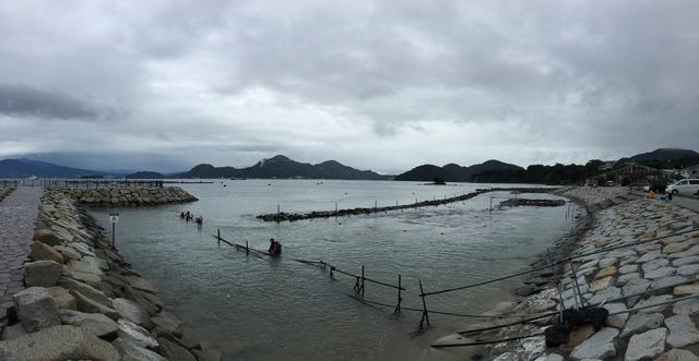 台風21号が接近中の平沢ビーチ