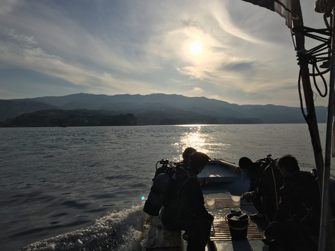 淡島ボートダイブ最終便の帰り