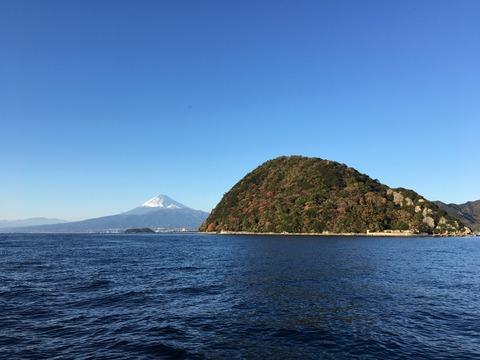 紅葉の淡島と富士山