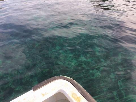 ボートからビーチの水底がクッキリ
