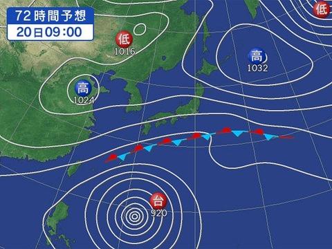 10月20日の予想天気図