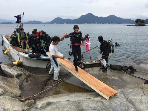 ボートの乗り降り@平沢ビーチ