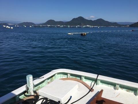 ボートでブロック移動作業@平沢