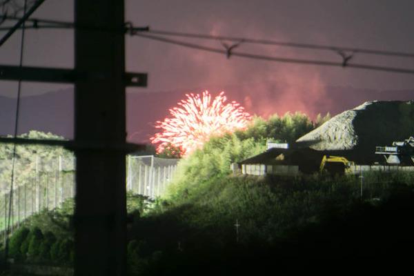 穂谷から見た城陽秋花火大会