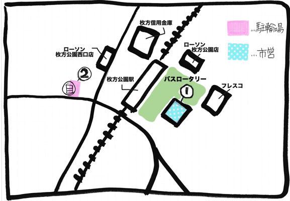 枚方公園駅駐輪場MAP