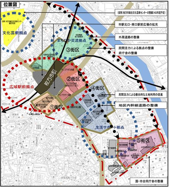 枚方市駅周辺-街区図