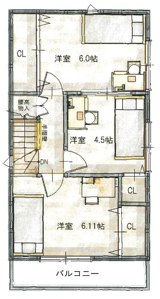 宮之阪3階間取図