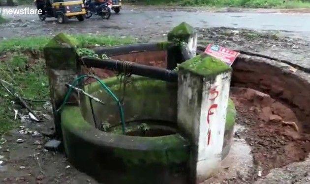 インドで井戸が水没