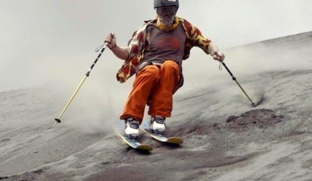 灰山でスキー