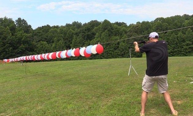 風船を並べて撃ってみた