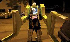 エイリアンのロボットアーマーの仮装。ハロウィン