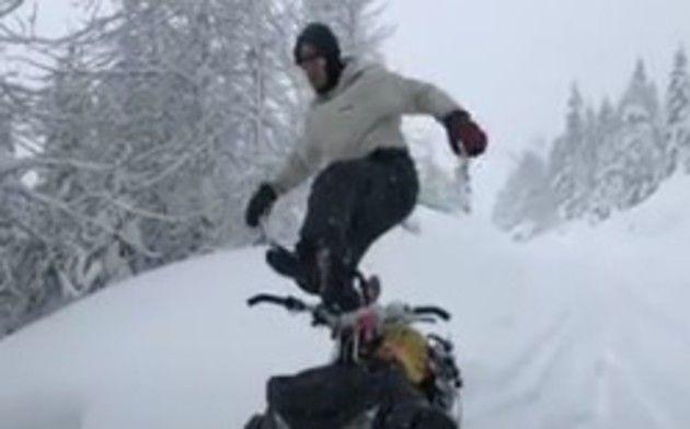雪にずっぽり埋まる人